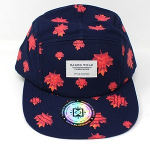 Maker Wear Accessories - Maple Leaf 5 Panel Baseball Hat Cap Adjustable b6b7378cc4e